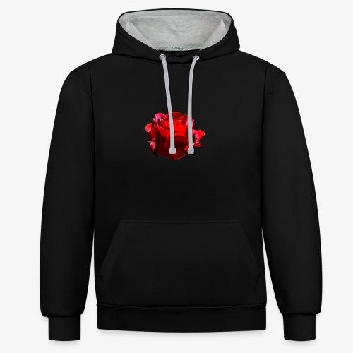 Red Rose - Kontrast-Hoodie