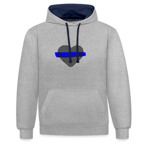 serduszko blu - Bluza z kapturem z kontrastowymi elementami