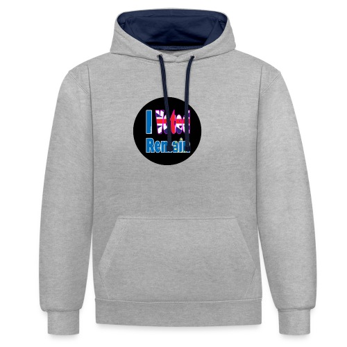 I Voted Remain badge EU Brexit referendum - Contrast Colour Hoodie