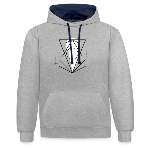 Geo-oddity_line_whiteout - Contrast Colour Hoodie