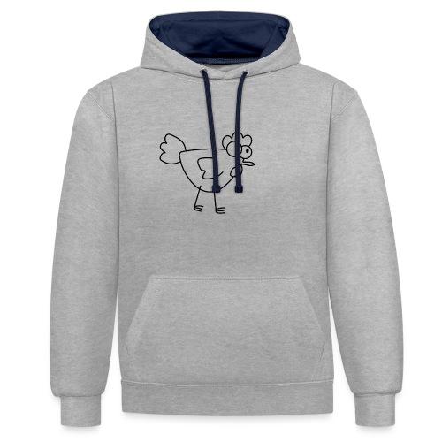 Huhn Shirt - Kontrast-Hoodie