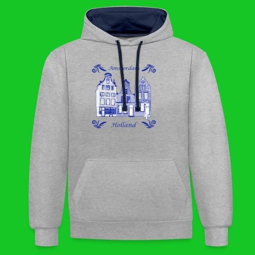 Holland Grachtenpanden Delfts Blauw - Contrast hoodie
