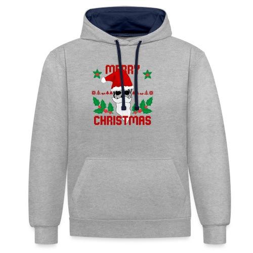 Merry Christmas Skull - Kontrast-Hoodie
