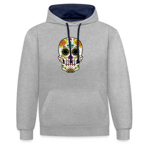 skull4 - Felpa con cappuccio bicromatica