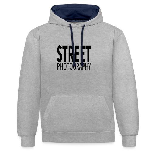Street photography Black - Felpa con cappuccio bicromatica