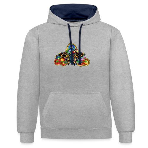 Happy Butterfly! - Kontrast-Hoodie