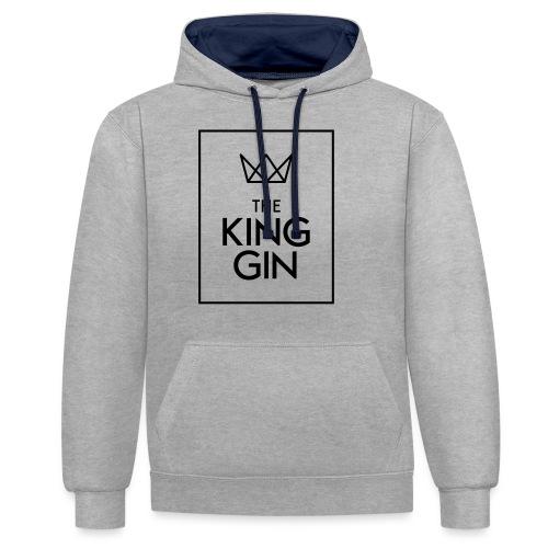 The King Gin Logo schwarz RGB Rahmen - Kontrast-Hoodie