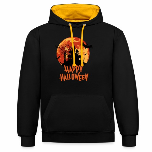 Bloodmoon Haunted House Halloween Design - Kontrast-Hoodie