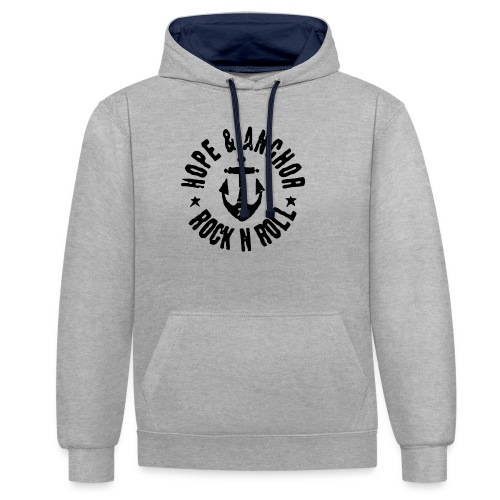 Hope & Anchor - Rock´n´Roll - Kontrast-Hoodie