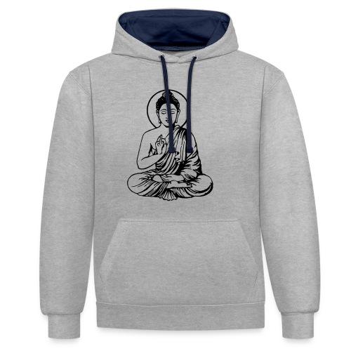 Buddha-Vektor-Outline - Kontrast-Hoodie