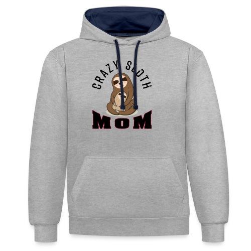 Crazy Sloth Mom - Kontrast-Hoodie