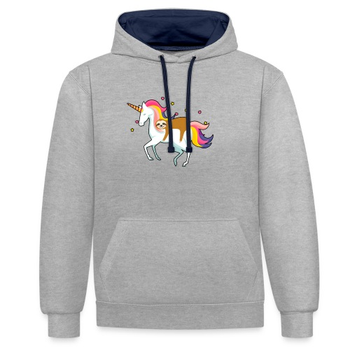 Funny Sloth Riding Unicorn - Kontrast-Hoodie