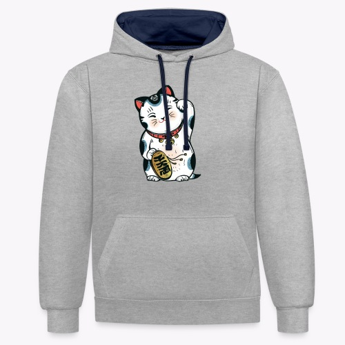 The Lucky Cat - Contrast Colour Hoodie