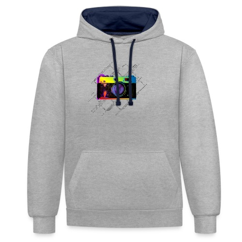 Vintage Rangefinder Film Camera Pop Art Style - Contrast Colour Hoodie