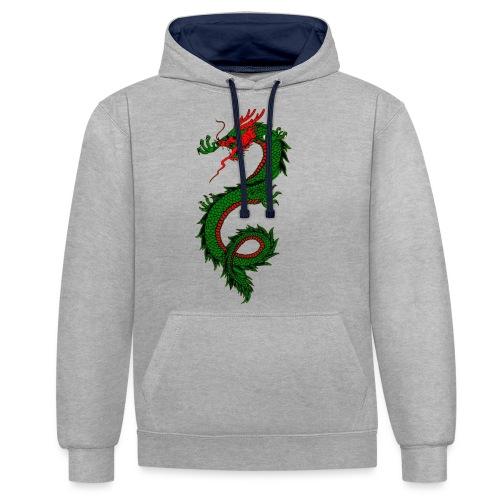 dragon - Felpa con cappuccio bicromatica