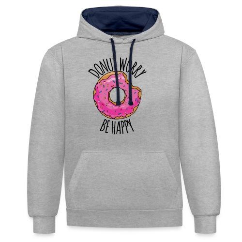 Donut worry - Kontrast-Hoodie