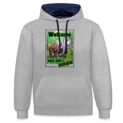 Willkommen im Dschungel - Kontrast-Hoodie