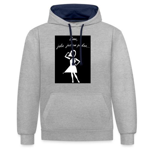 Koszulka Boże, jaka jestem piękna - Bluza z kapturem z kontrastowymi elementami