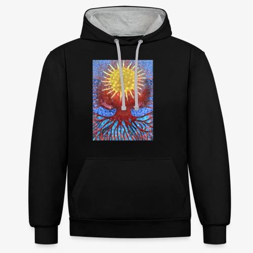 Niebiańskie Drzewo - Bluza z kapturem z kontrastowymi elementami