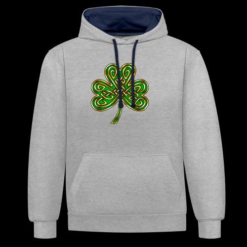 Celtic Knotwork Shamrock - Contrast Colour Hoodie