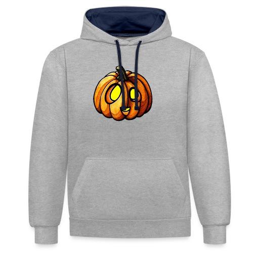 Pumpkin Halloween watercolor scribblesirii - Kontrast-hættetrøje