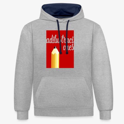 Ad ilustraciones Rojo - Sudadera con capucha en contraste