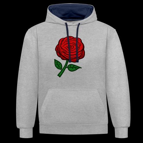 Rote Rose - Kontrast-Hoodie