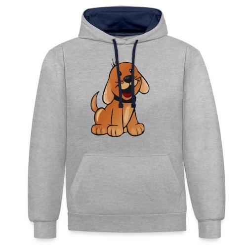 cartoon dog - Felpa con cappuccio bicromatica