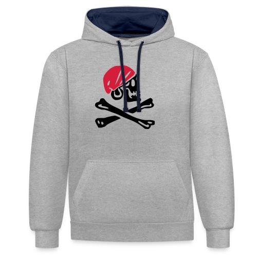 Piratentotenkopf mit rotem Kopftuch - Kontrast-Hoodie