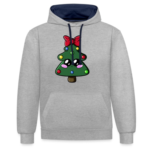 Sapin de Noël Kawaii ! - Sweat-shirt contraste