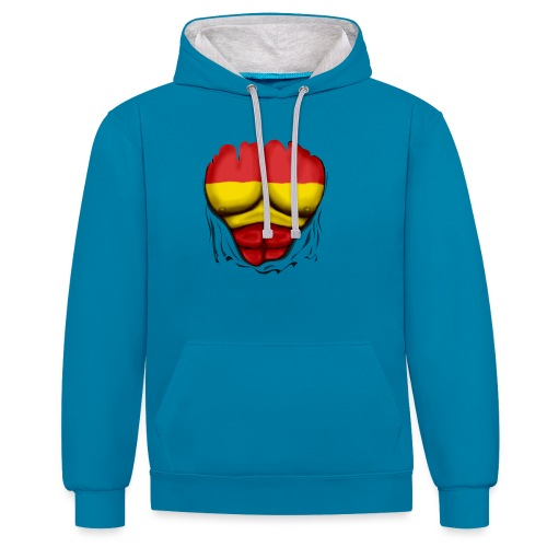España Flag Ripped Muscles six pack chest t-shirt - Contrast Colour Hoodie