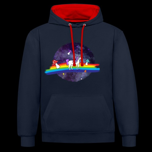 Mushroom Unicorn in Space Hoodie - Contrast Colour Hoodie