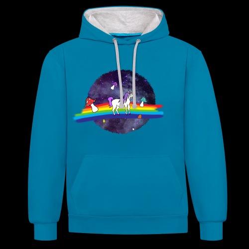 Mushroom Unicorn in Space Hoodie - Contrast Colour Hoodie