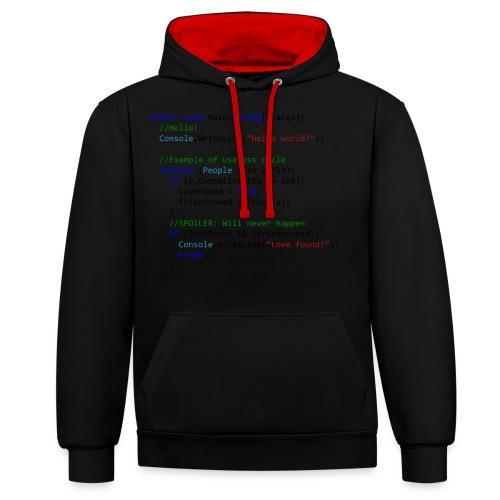 Love seen by a C# programmer - Felpa con cappuccio bicromatica