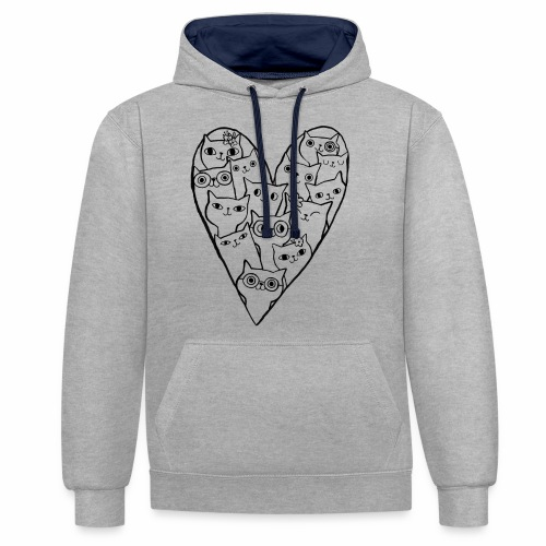 I Love Cats - Contrast Colour Hoodie
