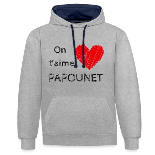 On t'aime papounet - Sweat-shirt contraste