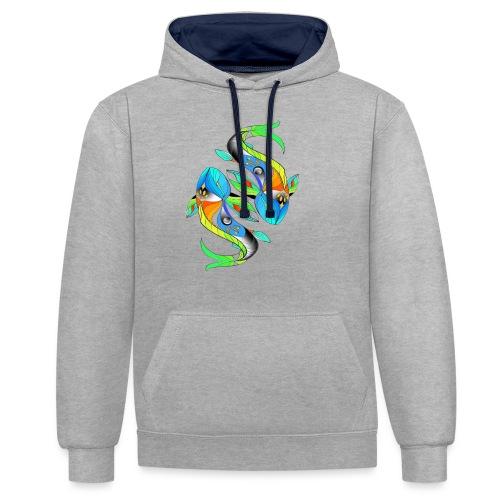 Regenbogenfische - Kontrast-Hoodie