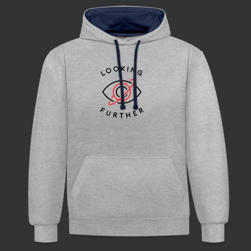 Looking Farther - White - Contrast Colour Hoodie