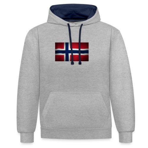 Norsk Flagg - Kontrast-hettegenser