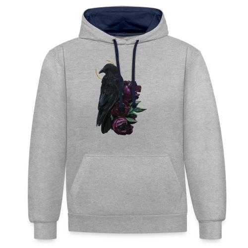 crow and flowers - Felpa con cappuccio bicromatica
