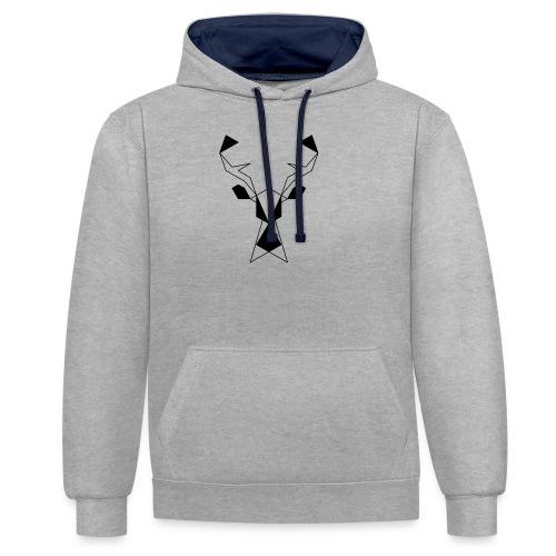 Jeleń #1 - Bluza z kapturem z kontrastowymi elementami