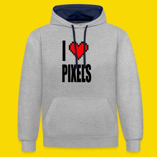 I Love Pixels - Bluza z kapturem z kontrastowymi elementami