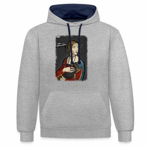Lady with dachshund - Bluza z kapturem z kontrastowymi elementami