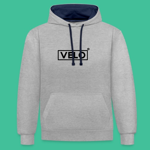 Velo Icon Blk - Long Sleeve Baseball Shirt W/N Clr - Contrast Colour Hoodie