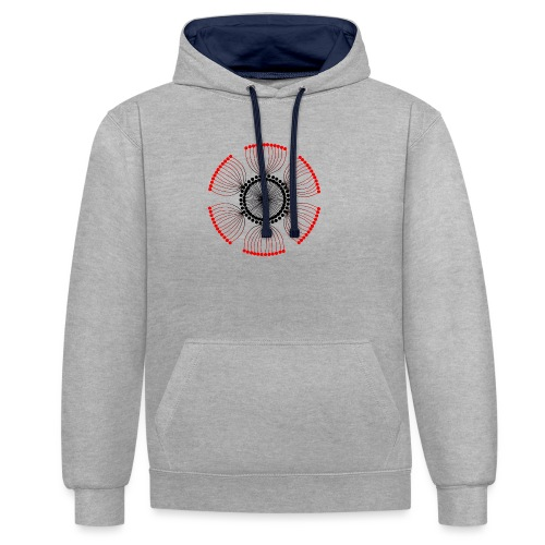 Red Poppy Seeds Mandala - Contrast Colour Hoodie
