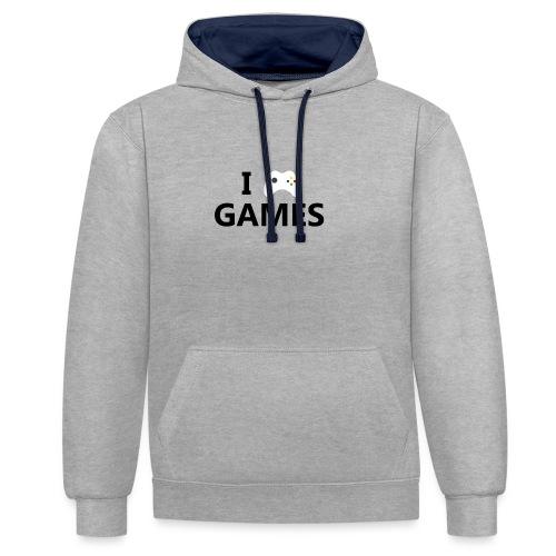 I Love Games - Sudadera con capucha en contraste