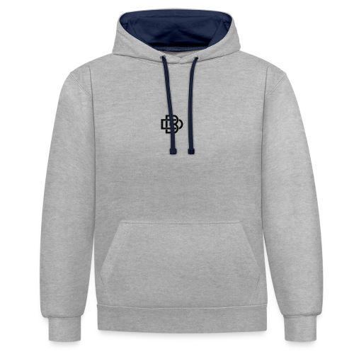 Black Monogram Logo - Contrast Colour Hoodie