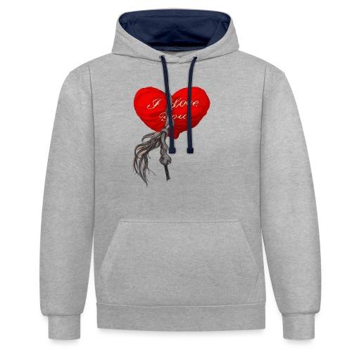 Heart - Bluza z kapturem z kontrastowymi elementami