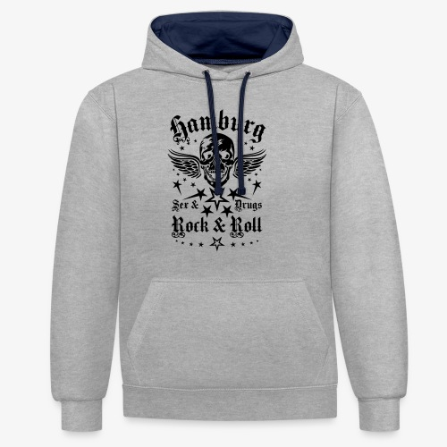 Hamburg Sex Drugs Rock & Roll Skull Wings - Kontrast-Hoodie