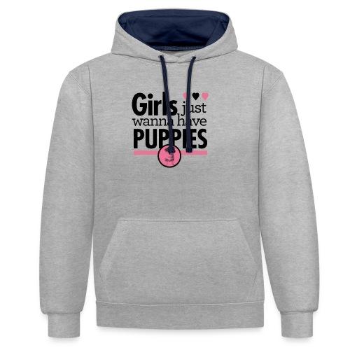 Girls Just Wanna Have Puppies Grey - Kontrast-Hoodie